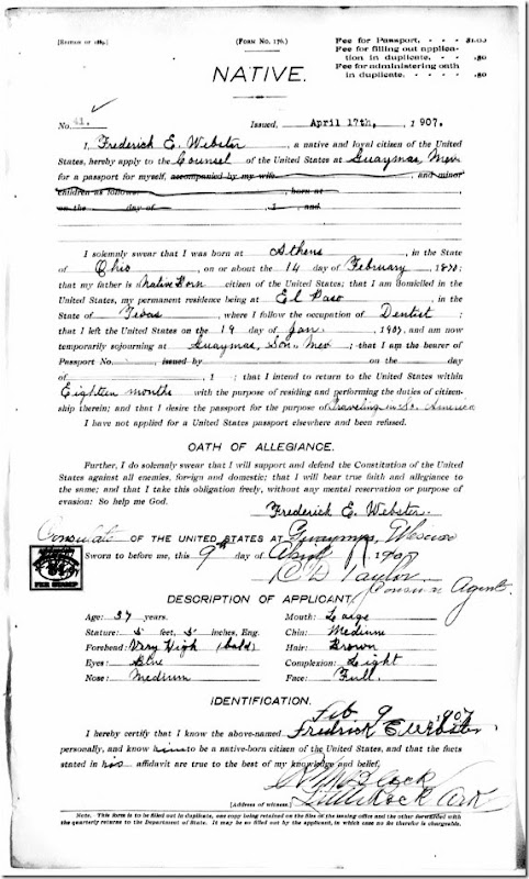 Frederick Emory Webster passport application 1907