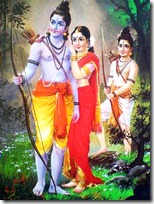 Sita, Rama and Lakshmana in the forest