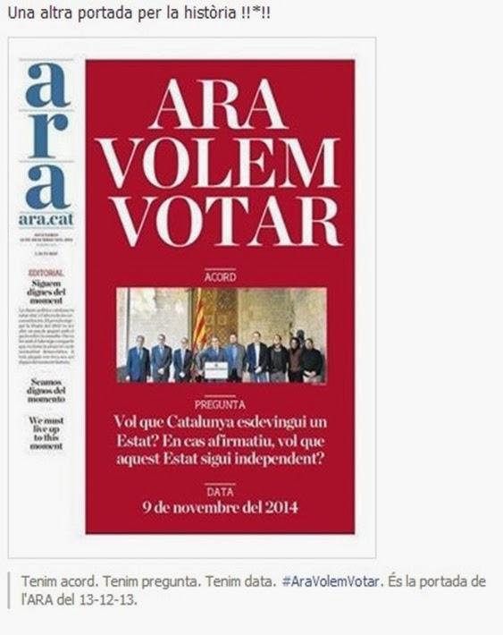 ara volèm votar ARA portada del 12 de decembre 2014