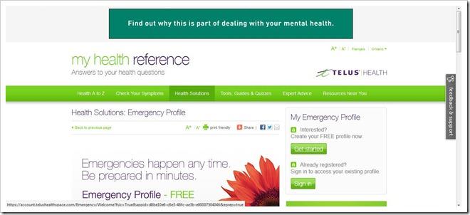 Emergency Health Profile from TelusHealth