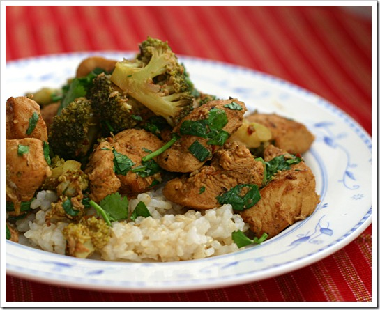 Spiced Chicken Stir-fry with Ginger, Cilantro, and Lime