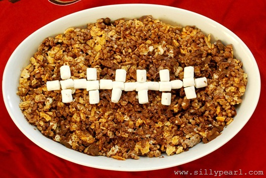 BBQ Chip and Chocolate Football Rice Krispy Treats - The Sily Pearl
