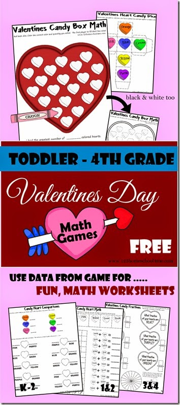 Valentines Day Math Games - You will love that all your kid can play this free printable game and math worksheets will help Toddler, Kindergarten, 1st grade, 2nd grade, 3rd grade and 4th grade students have fun learning about graphing, greater than less than, addition, fractions and more.