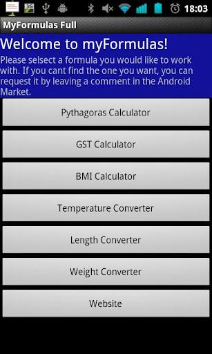 myFormulas BMI Pythagoras..