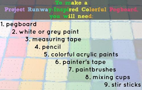 painted pegboard materials list