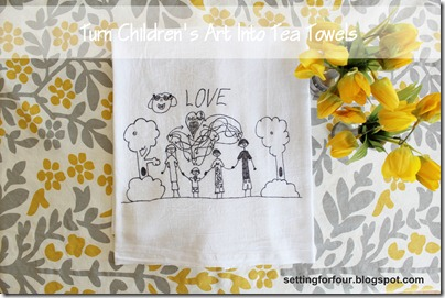 Turn Children's Art into Tea Towels from Setting for Four #diy #tutorial #children #art #towel