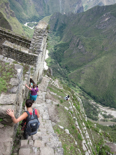 Hanging on for dear life on Wayna Picchu.