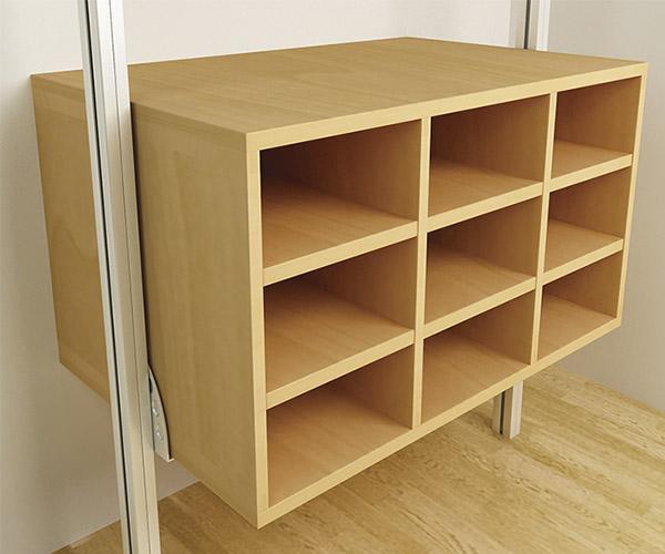 Camisero de 9 espacios de madera de maple o melamina.