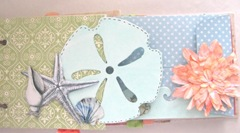 Beach journal green  half page matboard with shells and starfish