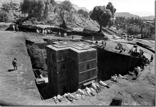 Bet Giorges - a unique rock-hewn church with groundfloor of Greek Cross -  was caved  between 1137 and 1221. A church of thirteen meters  in monolithic stone of volcanic rock called tufa.  King Lalibela after his visitation to Holy Land wanted to build a new holy city substitute of Jerusalem and  had the inestimable knowledge of Christian Egypt  whom escaped from Islamic invasion. The whole 13 Th rock-hewn churches of Lalibela are considerate as candidate to 8 Th world wonder.