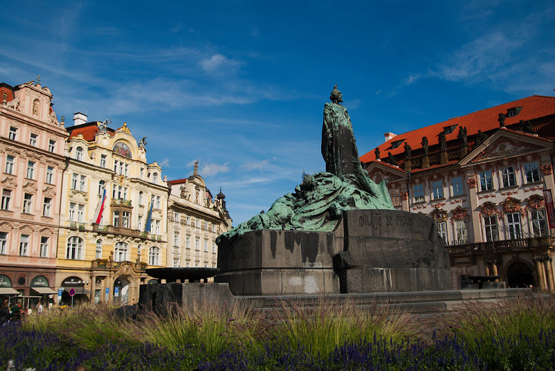 The statue of Jan Hus in the middle of the town square, Prague, Czech Republic.