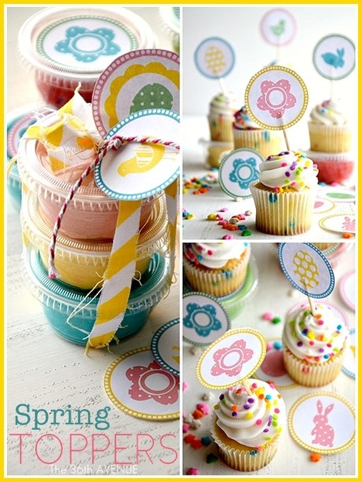 spring easter cupcake toppers