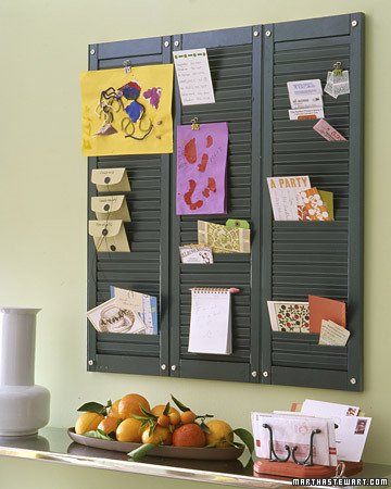 A trio of shutters makes a perfect entryway organizer (Martha Stewart Living)