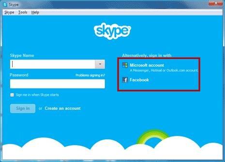 Cómo iniciar sesión en Skype usando la cuenta de Facebook y Outlook