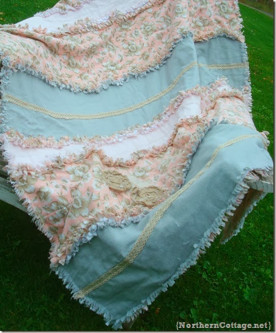 {Northern Cottage} pink and grey charming rag quilt