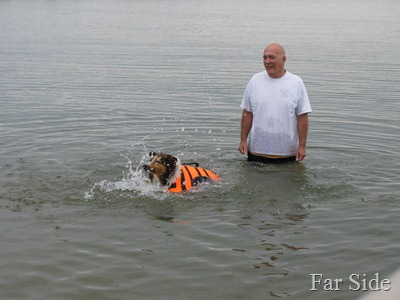 Miney doing the dogpaddle
