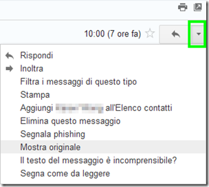 Mostra originale email Gmail