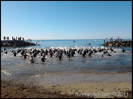 Triathlon Frontignan départ sprint
