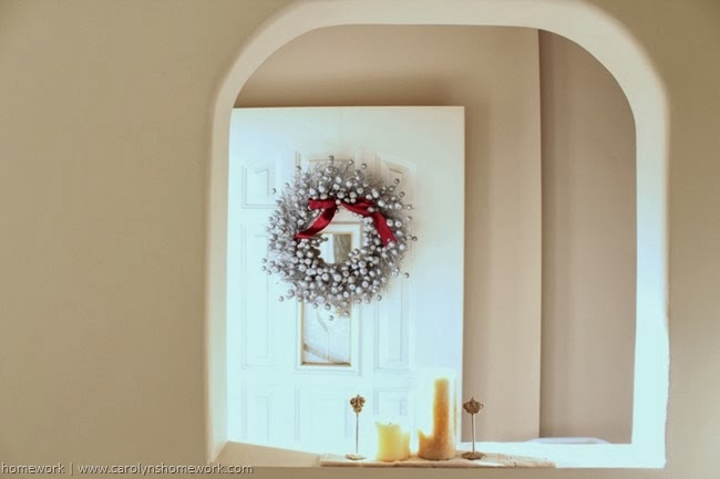 Holiday Wreath from a Fall Wreath via homework | carolynshomework.com