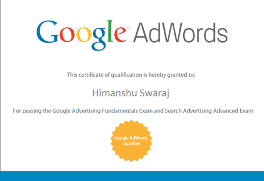 Google_Adwords-Certificate - Himanshu