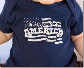 made in America onesie close up