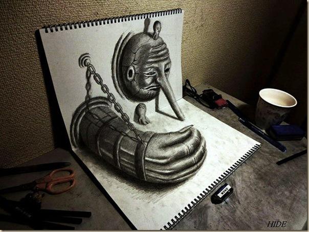 Incroyables dessins au crayon en 3D par Nagai Hideyuki-001