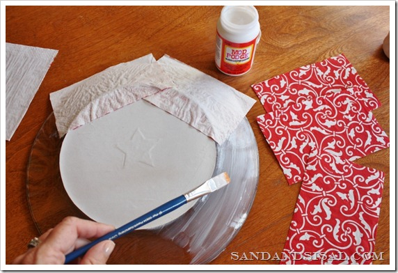 Mod Podge cut napkins to plate
