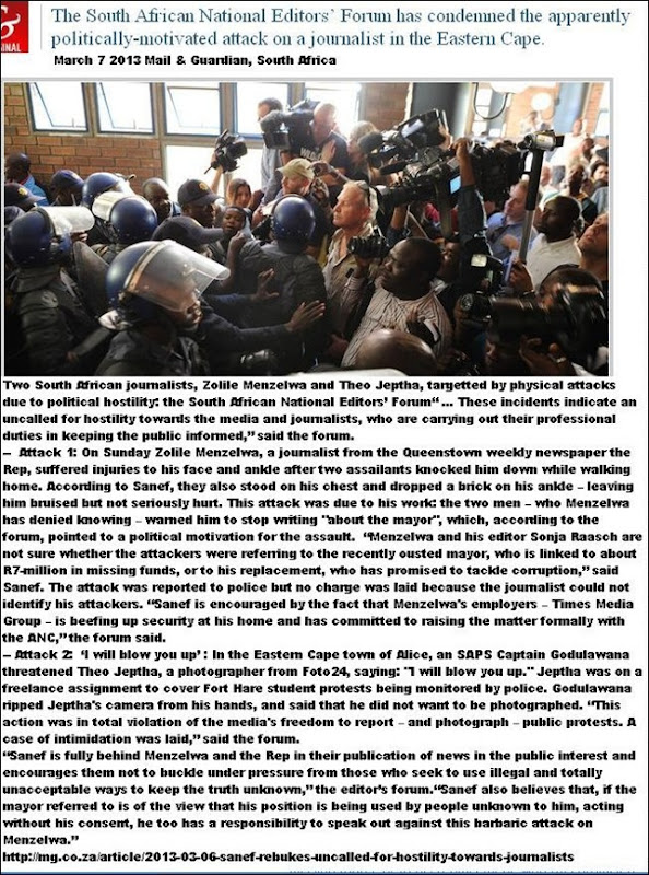 JOURNALISTS ATTACKED IN SA DUE TO POLITICAL ANIMOSITY QUEENSTOWN.