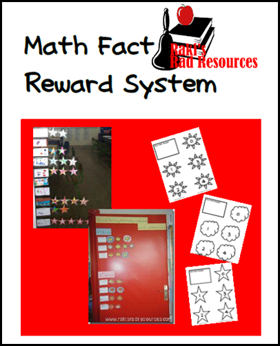 Math fact reward system - free download with eight levels.  Works with addition, subtraction, multiplication and division.  From Raki's Rad Resources