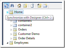 Synchronize with Designer icon on the Project Explorer toolbar.
