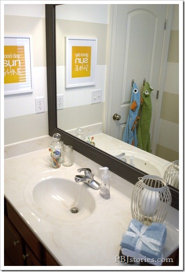 PBJstories.com Bathroom Reveal Framed Mirror