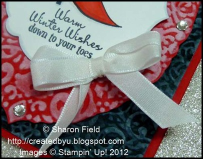 embossed and double loop bow with bling