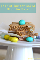 Peanut Butter M&M Blondie Bars