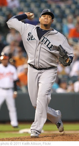 'Seattle Mariners starting pitcher Felix Hernandez (34)' photo (c) 2011, Keith Allison - license: http://creativecommons.org/licenses/by-sa/2.0/