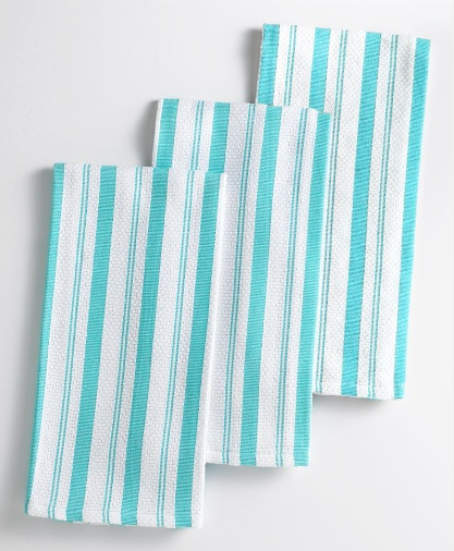 Bright dish towels can be wrapped around wine bottles and then used as handy napkins. Martha Stewart Collection Kitchen Towels. (macys.com)