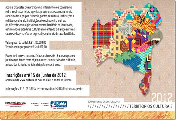 Edital Territórios Culturais - até R$40 mil - inscrição aberta