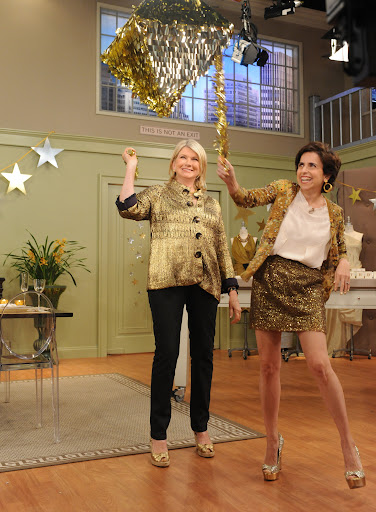 Martha and I opened the show by breaking our gorgeous metallic pinata from Confetti System, www.confettisystem.com  Photo: David M. Russell/The Martha Stewart Show