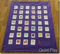 Purple Polaroid quilt for L