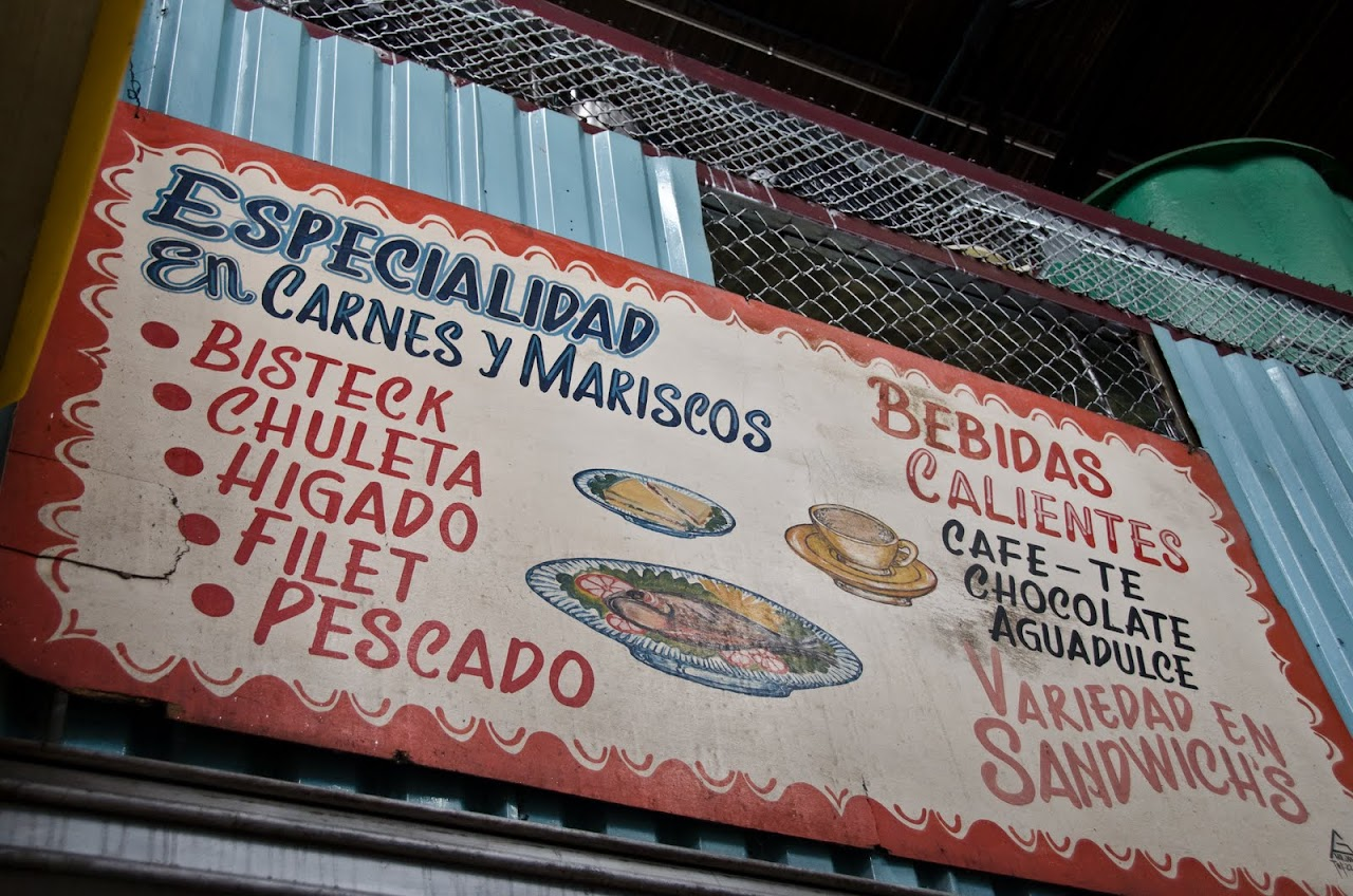 Soda menu at Mercado Central