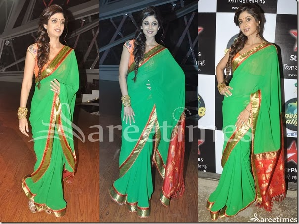 Shilpa_Shetty_Green_Georgette_Saree