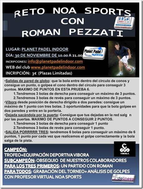 Reto NOA SPORTS con Román Pezzati en próximo 30 noviembre en Planet Padel Indoor.