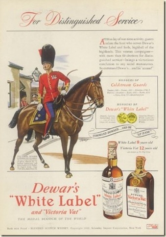 1942 Coldstream guard & horse Dewar's Scotch whisky ad