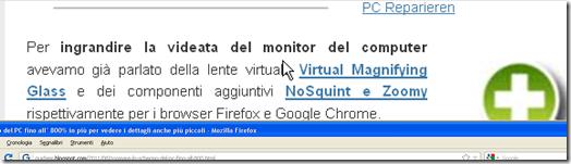 Ingrandimento con Magnifier Windows XP