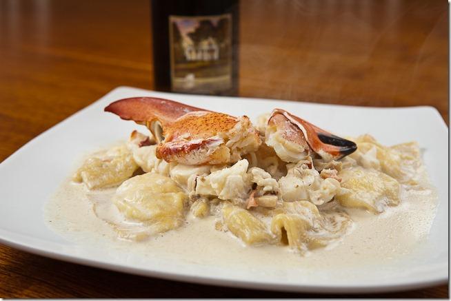 Lobster Ravioli with Truffle Mushroom Cream Sauce