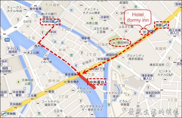 地圖:福岡-中洲屋台-祇園櫛田神社