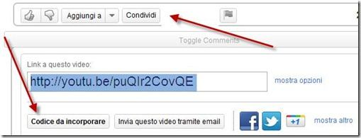 codice incorporare video youtube