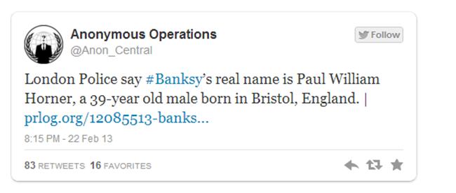 Ψεύτικη η είδηση για τη σύλληψη του Banksy