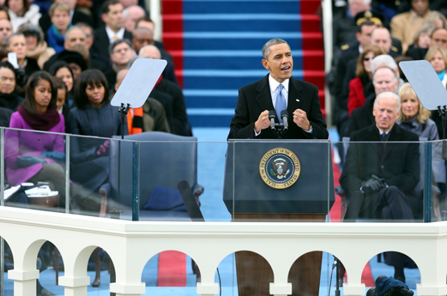 President Obama speaks during his second Inaugural Address, 21 January 2013. Mr. Obama made addressing climate change the most prominent policy vow of his second Inaugural Address, setting in motion what Democrats say will be a deliberately paced but aggressive campaign built around the use of his executive powers to sidestep Congressional opposition. Chang W. Lee / The New York Times
