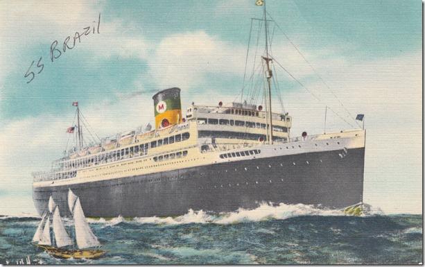 The S.S. Brazil Vintage Postcard Circa 1952