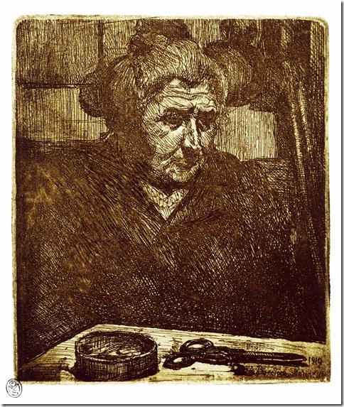 Umberto Boccioni_La madre davanti al tavolo con le forbici,1910 acquaforte-Mi.